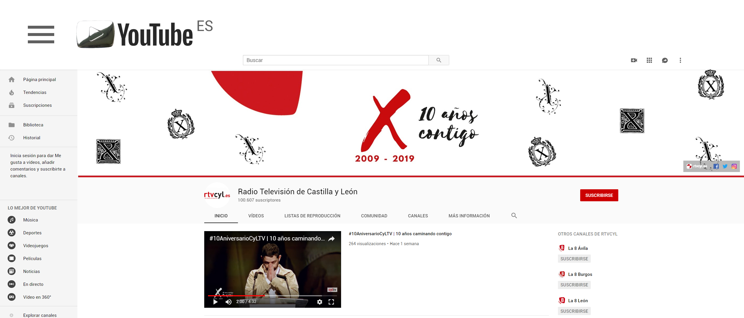 botón de plata youtube rtvcyl