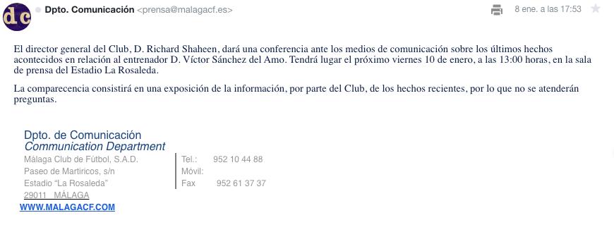 Rueda de prensa sin preguntas del Málaga para hablar sobre el caso Víctor Sánchez