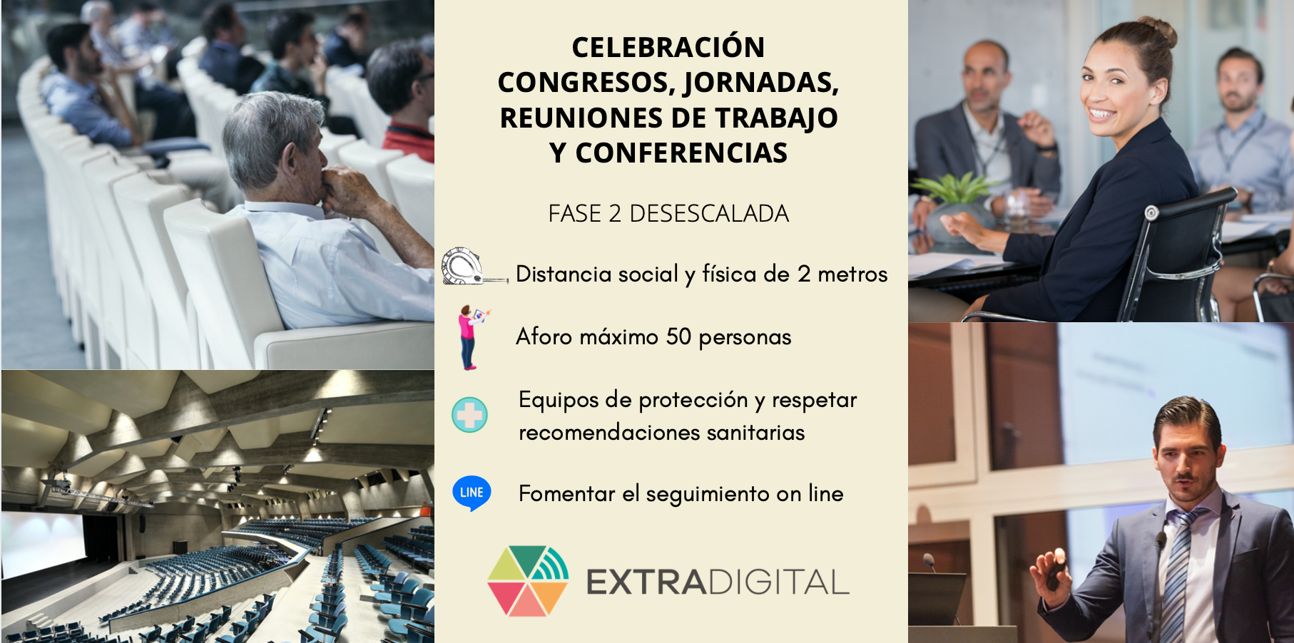 La entrada en la Fase 2 supondrá de facto la vuelta la celebración de Jornadas, Congresos, encuentros, reuniones de negocio y conferencias.