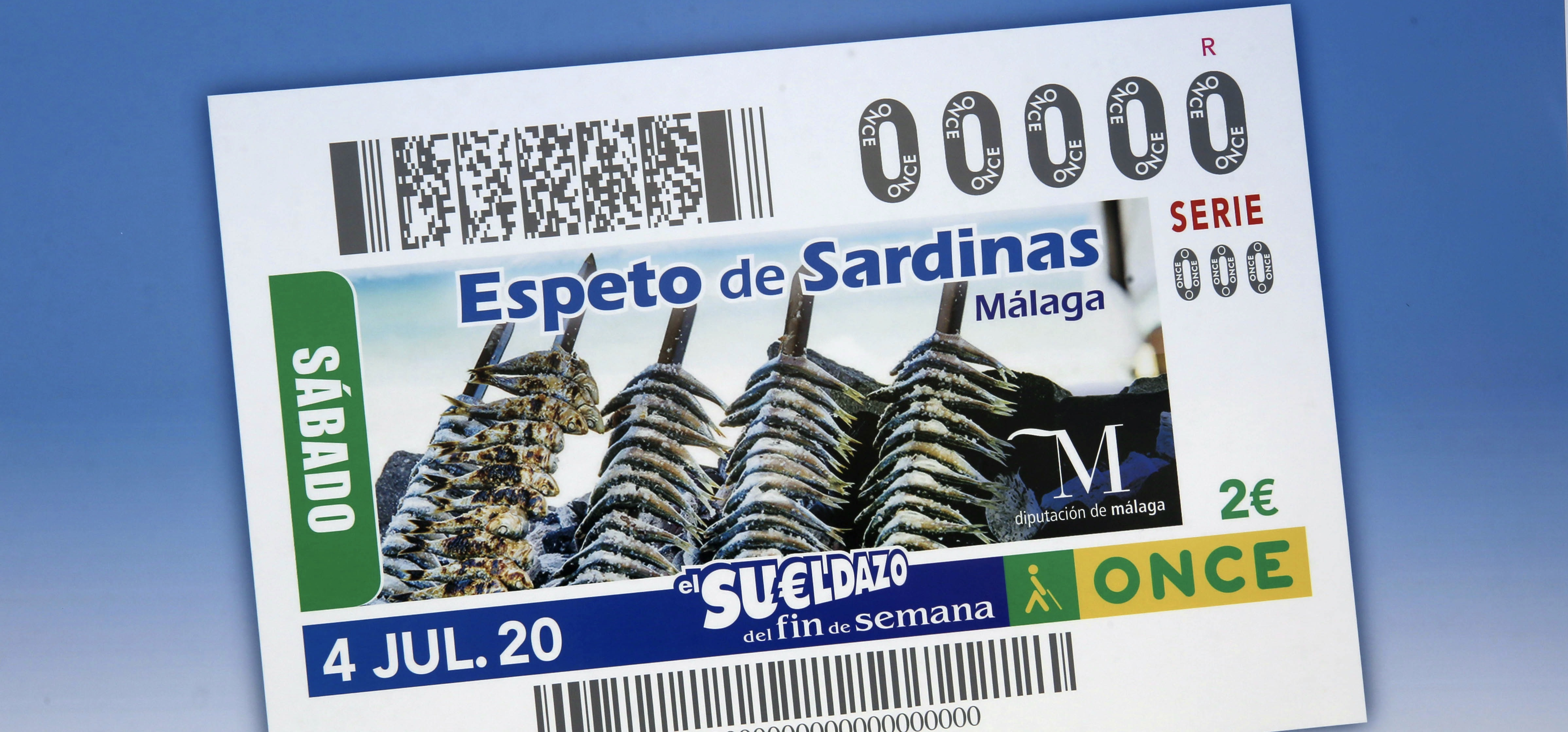 La imagen de los cupones de La ONCE para el sorteo del sábado, 4 de julio será el espeto de sardinas de Málaga, que aspiran a Patrimonio de la Humanidad.