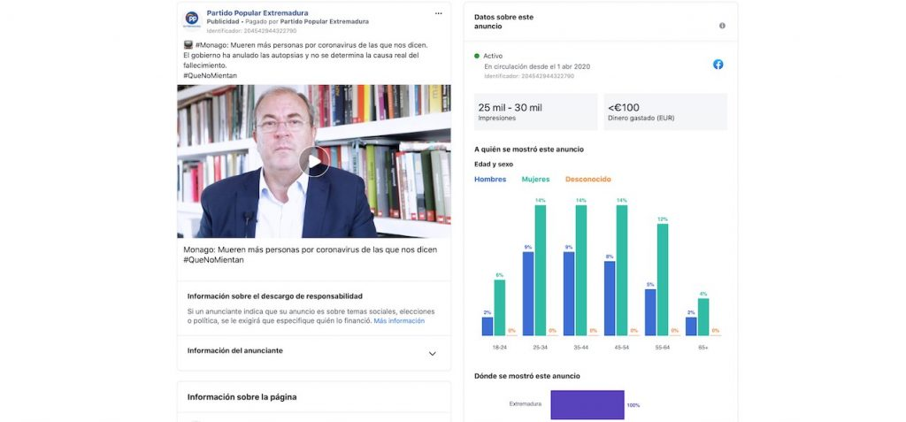 PP Extremadura campañas Facebook coronavirus