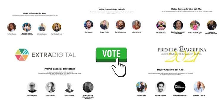 Vota al mejor influencer, comunicador, contenido viral, creativo y trayectoria. Esta edición tú decidos los #PremiosAgripina21. Hasta el 25 N.