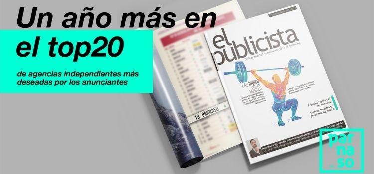 La agencia andaluza Parnaso entra en el TOP 20 del ranquin de las Agencias Independientes más valoradas por los anunciantes.